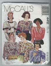 NEW MCCALLS 4412 MISSES BLOUSE & SCARVES SEWING PATTERN SZ 12 FF UNCUT VTG 80s