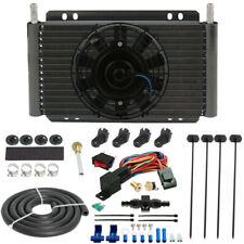 "11"" TRANSMISSION OIL COOLER ELECTRIC FAN BARB IN-LINE HOSE THERMOSTAT SWITCH KIT"