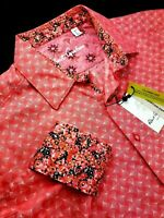 Robert Graham Red Rose Diamante Floral Jacquard Medallion Print Sport Shirt