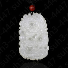 Chinese Natural White Jade Dragon Pendant Fashion Charm Jewelry Lucky Amulet E2