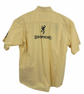 BROWNING Super Naturals Shooting Hunting Short Sleeve Shirt Padded Large Yellow