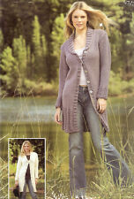 Super Knitting Pattern for Chunky Ladies Long Coat Jacket