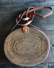 NEW Handmade Oval Rattan Bag Boho Bag Bali Canteen Crossbody Summer Bag USA