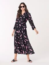 £239 Diane Von Furstenberg Georgia Maxi Dress DVF Wrap Dress Falling Lips, XS