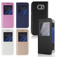 Flip Leather Window View Skin Case Cover For Samsung Galaxy Smart Cell Phone