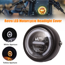1×12V 35W Retro LED Motorcycle Headlight Cover Turn Signal Lamp Bulbs Glass Lens
