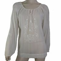 Cabi 540 Top Women Size Large Peasant Blouse White Scoop Neck Sheer Cotton