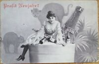 1905 New Year Postcard-Woman in Champagne Bucket w/Cats