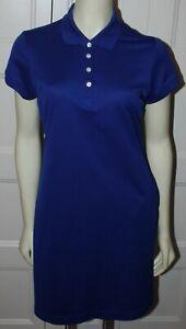 Nike Golf Dress Women size Medium M Royal Blue Dri-Fit Short Sleeve Pockets