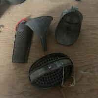 Lot Of 4 Vintage Primitive Metal kitchen utensils Graters & Funnel & Scoop