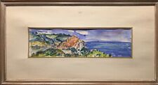 Tableau Peinture Cadre 20ème XXème Amilcar Techa Marine 1966 Paysage rare ancien