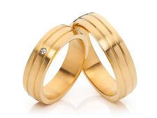 2 Diamant Eheringe Trauringe Verlobungsringe 18Karat vergoldet & Gravur