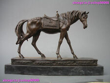 Western Lifelike pure bronze Marble Thoroughbred horse Art Statue