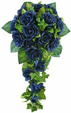 Navy Silk Rose Cascade - Bridal Wedding Bouquet