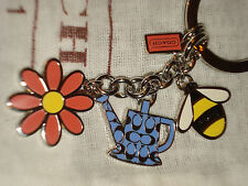 NEW CUTE COACH GARDEN MIX FLOWER, BEE, PALE KEY RING KEY CHAIN FOB - F64380