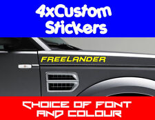 4x Land Rover Freelander Custom Stickers Choice of Fonts, Colours + Text
