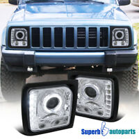 For 1997-2001 Jeep Cherokee Halo Projector Head Lights Lamps W/ SMD LED