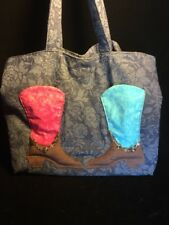 Cowgirl Purse Blue Jean Boot With Charms Unique Tote Purse