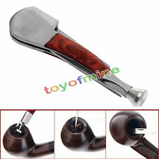 3in1 Smoking Red Wood+Stainless Steel Tobacco Pipe Cleaning Tamper Tool