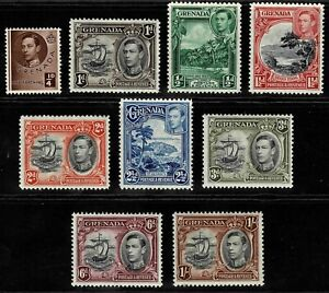 Grenada 1937 King George VI And Local Motifs - Part Set Of Nine Stamps - MLH