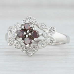 Floral 0.43ctw Red White Diamond Ring 14k White Gold Size 10 Cluster
