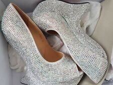 BNIB Stunning Embellished Rhinestone Diamante Peep Toe Heel Less Wedges, UK Sz 4