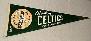 Vintage 1969 NBA Boston Celtics World Champions Pennant Green Basketball