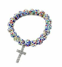 Colorful Beads Catholic Cross Bracelet by Nazareth Multi Color Crystal Bea