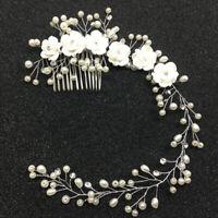 KQ_ Unique Flower Wedding Hair Pin Comb Bridal Clip Faux Pearl Bridesmaid Headba