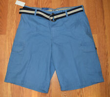 3bb40fe15e NWT Mens IZOD Federal Blue Cargo Casual Belted Shorts 32 34 36 38 40 42