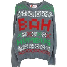 Funny Silly Christmas Xmas Sweater Bah Humbug Size XL Gray