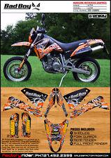 KTM LC 4  BAD BOY GRAPHICS KIT BY ENJOY MFG ENDURO GRAPHICS SUPER MOTO