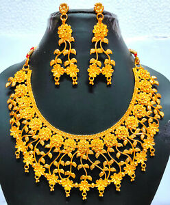 """22k Gold Plated Indian 8"""" Long Gift Necklace Earrings  Wedding Set AdAu46"""