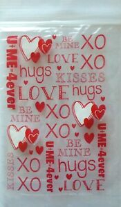 Valentine's Day ~ 40 Heart Zip Seal Party Treat Goody Plastic Bags ~  Love XOXO