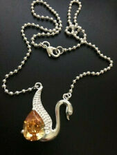 Lovely Silver & Topaz Swan Necklace 18""
