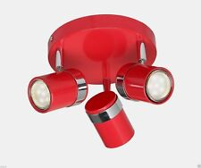 2x New Gloss Red & Chrome 3 Way Round Ceiling light