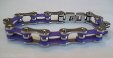 NEW Ladies Motorcycle or Biker Purple and Stainless Steel Chain Bracelet