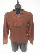 T-shirt Roberto Cavalli,serafino color bruciato sfumata con pelle,tg 50