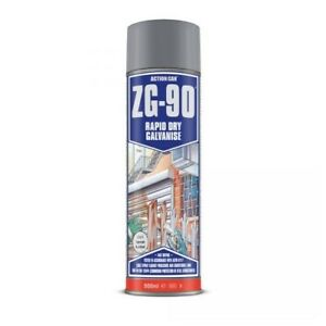 Action Can ZG-90 500ml Anti Rust Cold Zinc Galvanising Silver Colour Spray Paint