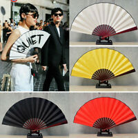 Chinese Style Hand Held Fan Blank Silk Cloth Folded Fans Party Wedding Decor UK