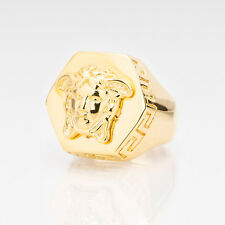 Versace Octagon Medusa Ring Gold plated Head Brass Size 9 (19) Made in Italy NEW