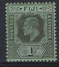 FIJI SG 122 1/- Black / Green Mounted Mint Cat £ 10