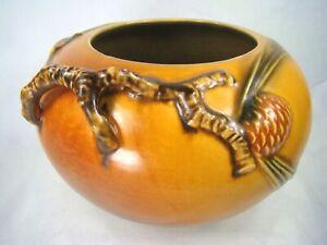 ROSEVILLE Art Pottery 1936 PINECONE 278 4 Rose Bowl Vase VIBRANT Rich Tan Brown