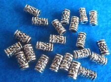 10 Tibetan Silver Dotted Cylinder Spacer Beads Metal Charm