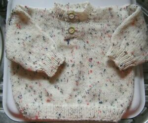 "Hand Knitted Baby JUMPER - CREAM with flecks,  18"" chest, Round Neck  **NEW**"