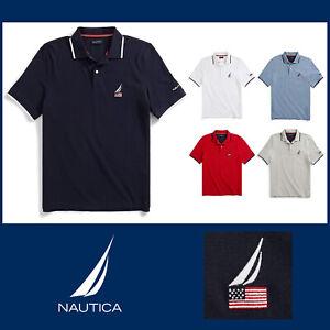 Nautica Men's Short Sleeve Polo Shirt American Flag