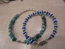 Glass Two Bracelet Lot Sterling Silver Tuquoise Pearl Moonstone