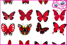 24 x WONDERFUL RED MIXED BUTTERFLY EDIBLE CUPCAKE TOPPER RICE WAFER PAPER M9