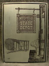 1978 Folk Art Revere Ware Wells Fargo Western Cowboy Stage Depot Metal Etching