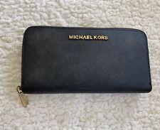 Michael Kors Black Zip Wallet Purse With Gold Detail